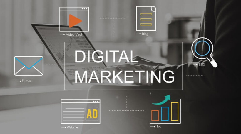 Digital Marketing Media Technology Graphic Concept- Ψηφιακό Μάρκετινγκ
