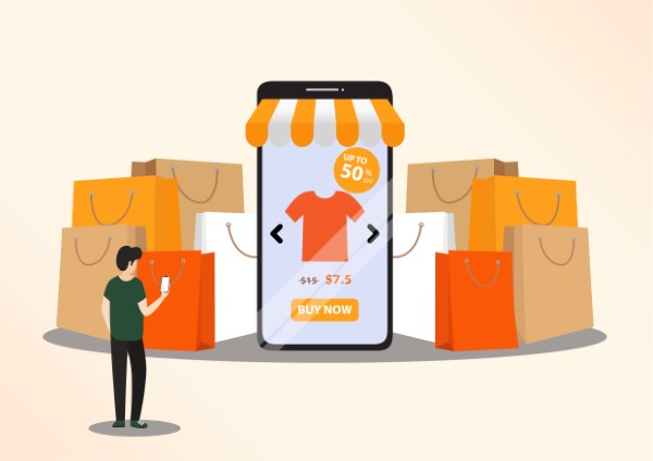 Online shopping concept illustration. Buying and selling items. Online payment, Buying online - vector banner with icons